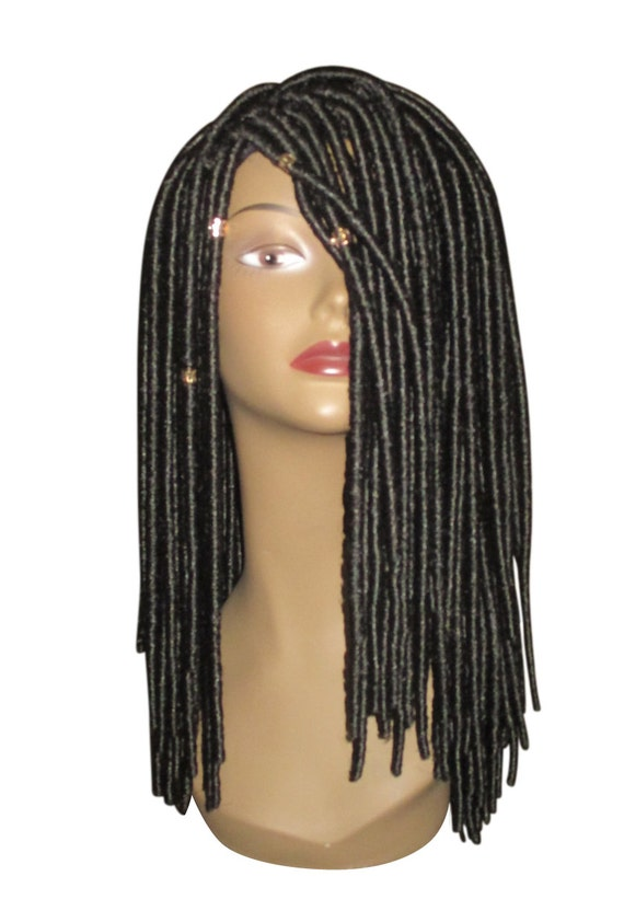 "Essence Wigs ""Loctastic"" Dreadlocks Loc Locs Crochet Wig Black Comes w/ Gold Crystal Beads"