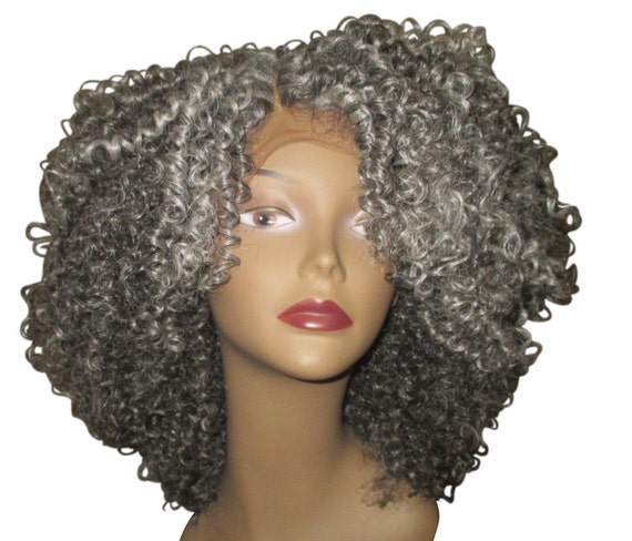"Essence Wigs Pretty Gray ""Lola"" Lacefront Kinky Curly Lace Wig Unit w/ Parting"
