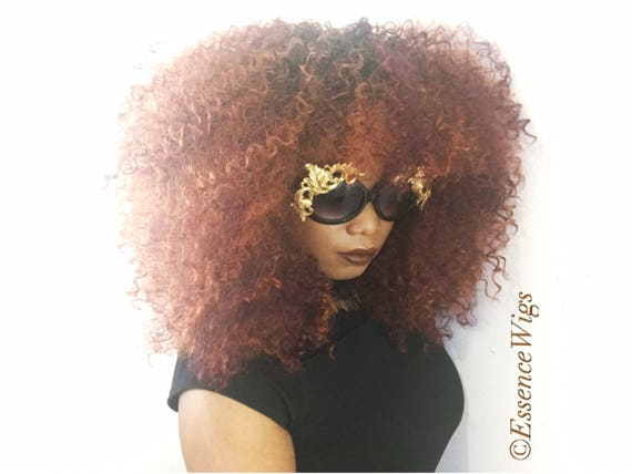 Essence Wigs Gorgeous 'CopPer-Fect 'Bangs  Big Curly Wig Unit Copper colored unit