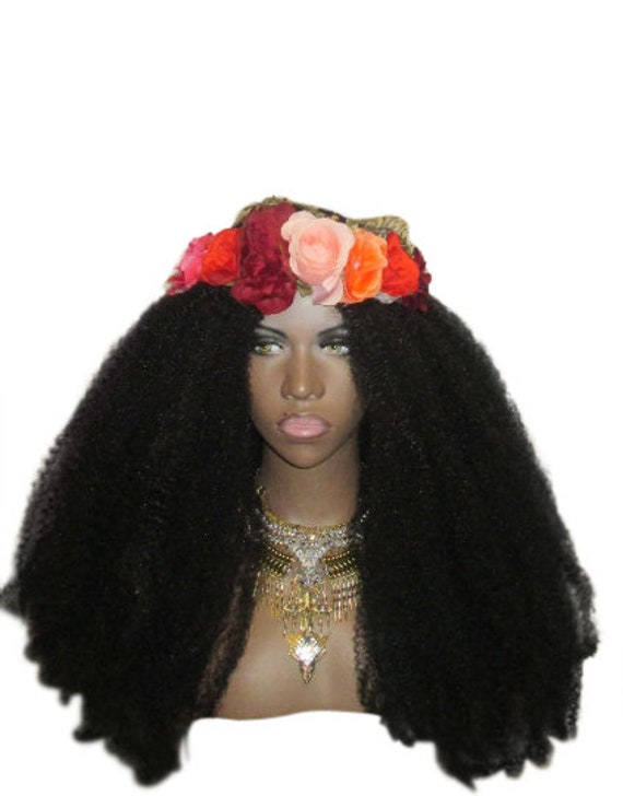 Essence Wigs 'Royal Kinks' Lace Natural Hair BIG Super Long & Full Voluminous Kinky Hair Wig  4c