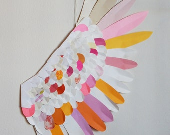 Paper Wing - Fairy Wing - wall decor - wall hanging - Paper Swan Wing