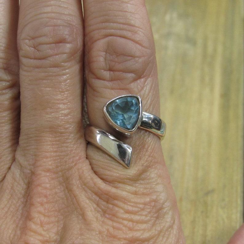 Vintage Sterling Silver Topaz Adjustable Wrap Ring