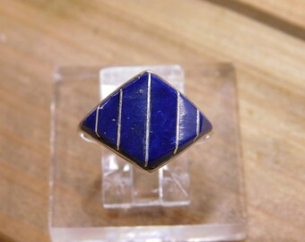 Sterling Silver Lapis Diamond Shaped Ring Size 7.25