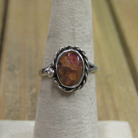 Vintage Mexican Fire Opal Sterling Silver Ring Siz