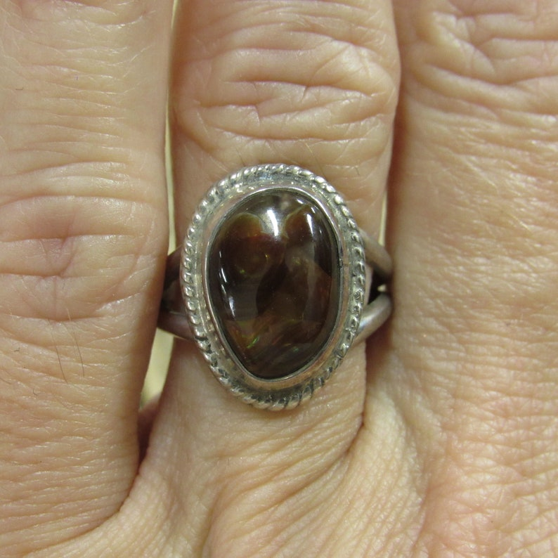 Vintage Sterling Silver Fire Agate Ring Size 6.5