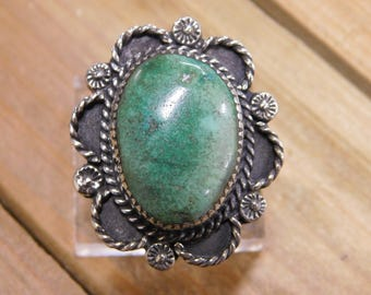 Vintage Sterling Silver Green Turquoise Flower Ring Size 8
