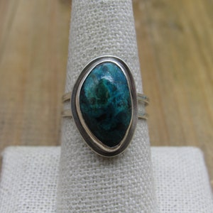 Vintage Sterling Silver Blue /& Green Azurite Stone Ring