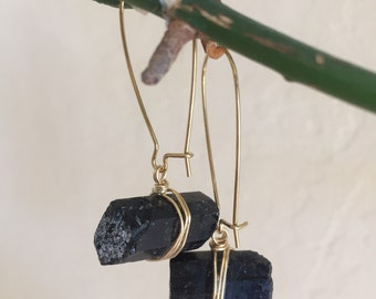 Black Tourmaline Crystal earrings