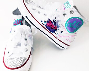 d375786fca80d Bat Mitzvah Custom Converse - Girls High Tops - Bat Mitzvah Shoes -  Rhinestone Converse - Girls Gifts - Teen Gifts - Personalized Gifts for