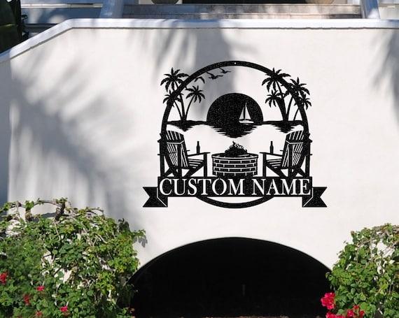 Palm Tree Sunset Monogram | Beach House Décor | Ocean Décor | Custom Metal Sign | Family Name Sign | Beach décor