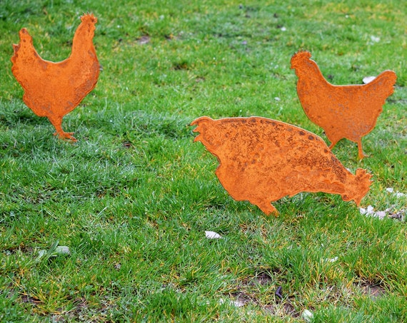 Chicken Garden Stakes   Hen Yard Stakes   Staked Yard Art   Metal Staked Chicken   Farmhouse Yard Art