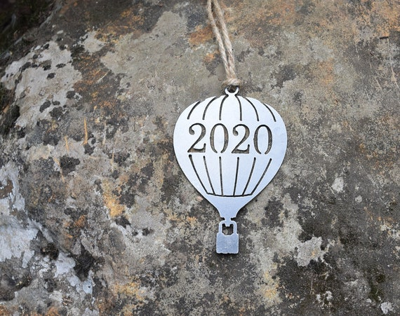 Hot Air Balloon 2019/2020 Ornament Metal | Balloon Ornament | Outdoors | Raw Steel Balloon | Rearview Mirror | Balloon Festival