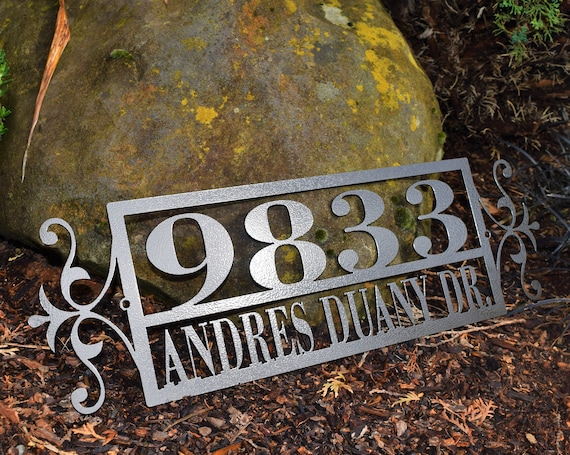 Horizontal Metal Outdoor Home Address Sign End Flourish | Custom Address Sign | Personalized House Number Plaque | Address Plaque