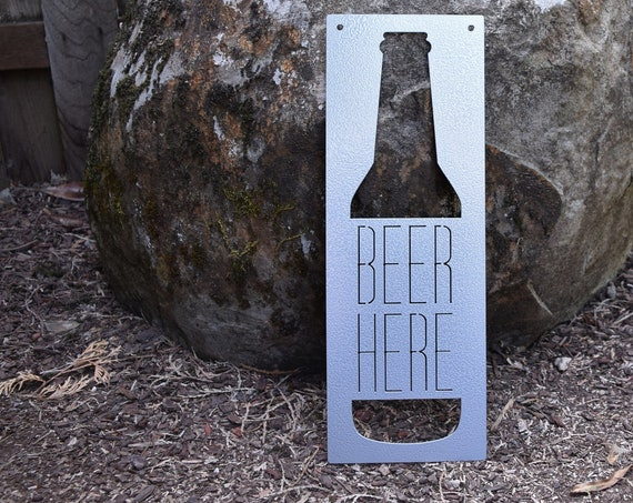 Beer Here Metal Sign | Garage Man Cave Sign | Personalized Steel Beer Sign | Custom Beer Sign | Beer Sign | Man Sign