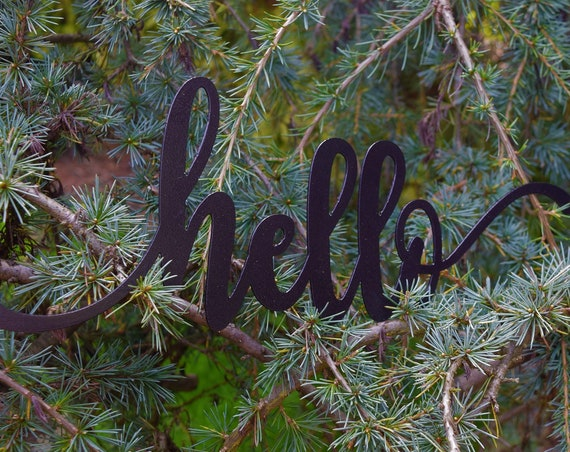 Metal Hello Sign | Metal Wall Art | Front Porch Sign | Metal Art |Metal Wall Decor | Custom Metal Signs | Welcome | Vintage Sign