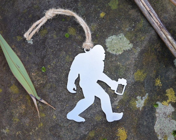 Sasquatch Ornament Metal | Bigfoot Ornament | Outdoors | Raw Steel Sasquatch | Rearview Mirror | Christmas Ornament
