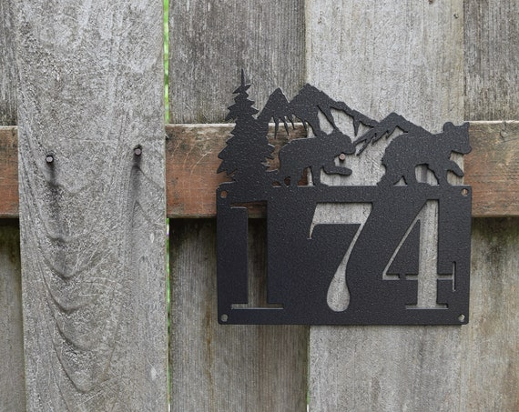Bears Metal Horizontal Home Address Sign | Personalized House Number Plaque | Address Plaque | Outdoor Sign| House Numbers | Rustic Address