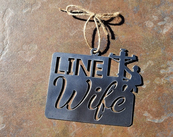 Line Wife Ornament Metal | Lineman Ornament | Electrical Lineman  | Steel Power Lineman | Rearview Mirror | Christmas Ornament | Line Life