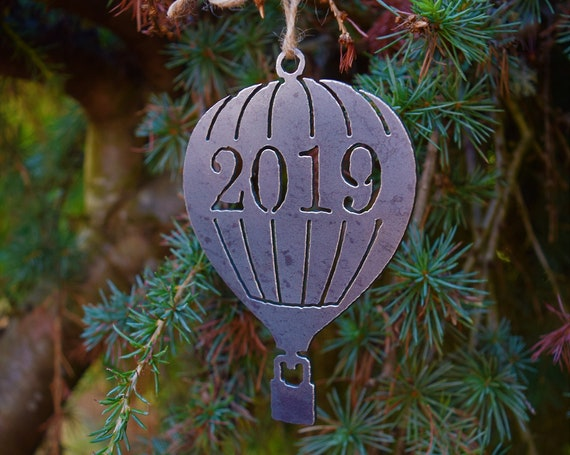 Hot Air Balloon 2019 Ornament Metal | Balloon Ornament | Outdoors | Raw Steel Balloon | Rearview Mirror | Balloon Festival