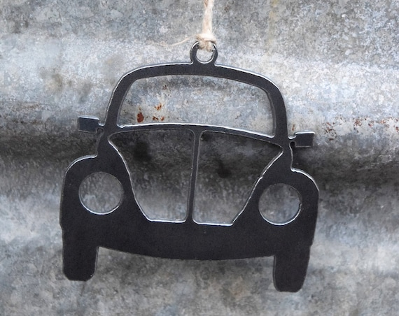 VW Bug Ornament Metal | Volkswagen Ornament | Vintage Car | Raw Steel Bug | Rearview Mirror | Christmas Ornament