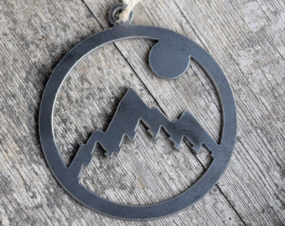 Mountain Sun Ornament Metal | Scenery Ornament | Outdoors | Raw Steel Mountain | Rearview Mirror | Rustic Ornament | Hiking | Nature