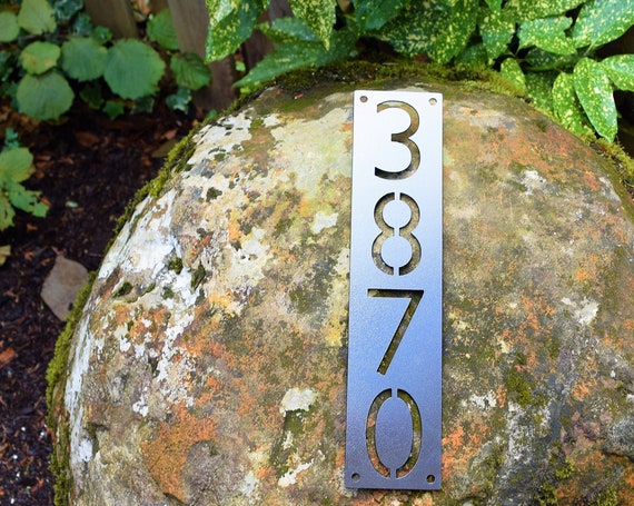 3 Inch Metal Vertical Home Address Sign   Personalized House Number Plaque   Mailbox Sign   Metal House Numbers   Number Plaque   4 x 4 Post