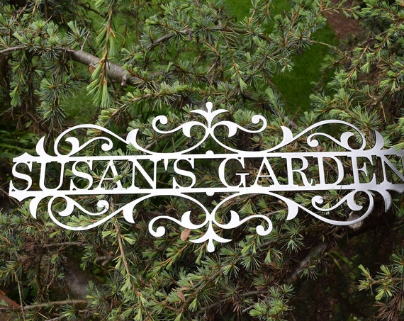 Custom Metal Name and Garden sign