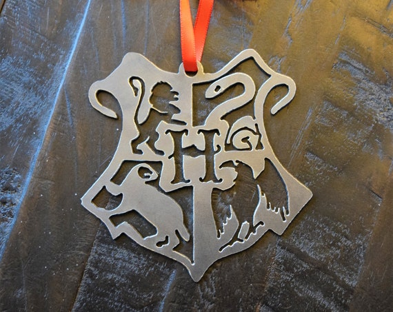 Hogwarts Crest Metal Ornament | Harry Potter Inspired Ornament | Rearview Mirror | Christmas Ornament