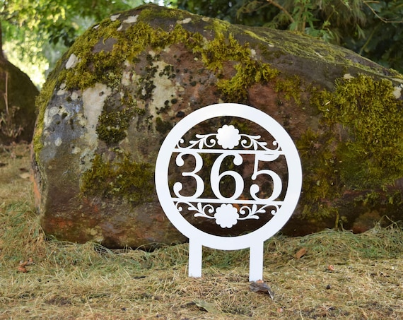 Staked Metal Outdoor Home Address Sign |Personalized House Number Sign| Address Plaque | Outdoor Sign|  House Number Plaque| Street Numbers