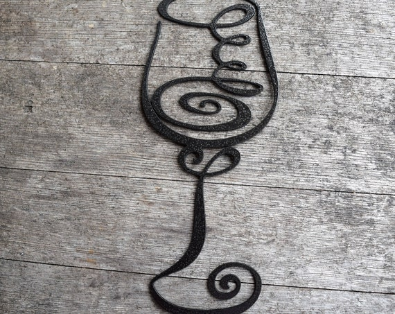 Large Metal Wine Glass | Abstract Metal Wine Glass | Swirly Wine Glass | Vino | Metal Wall Decor & Art