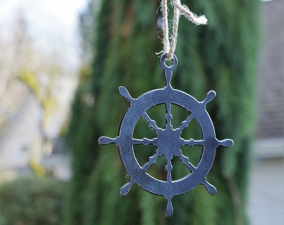 Nautical Wheel Ornament | Ship Ornament | Pirate Ship Ornament | Christmas Ornament | Nautical Decor | Beach Decor | Coastal Ornament