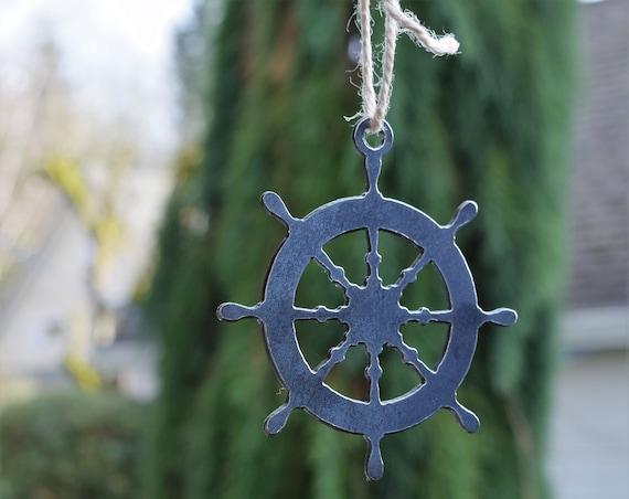 Nautical Wheel Ornament | Ship Ornament | Pirate Ship Ornament | Christmas Ornament | Nautical Decor | Beach Decor | Coastal Ornament