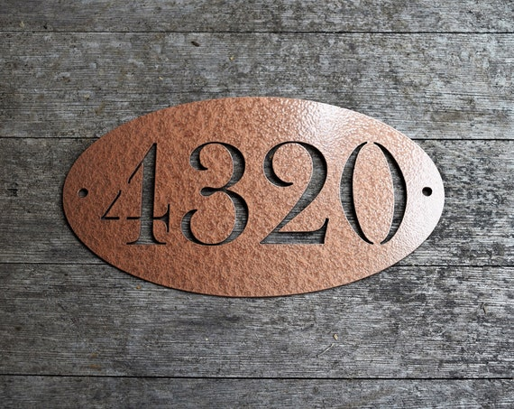Baskerville Small 5.5x10 inch Metal Oval Horizontal Address Sign| Custom House Number Plaque |Address Plaque|Mailbox Numbers| House Numbers