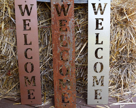 Vertical Metal Welcome Sign | Metal Wall Art | Monogram| Metal Art|Metal Wall Decor|  Custom Metal Signs|Vintage Sign