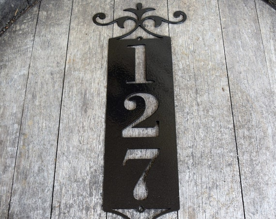 Vertical Metal Outdoor Home Address Sign End Flourish | Custom Address Sign | Personalized House Number Plaque | Address Plaque