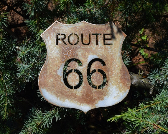Metal Route 66 Sign | Garage Sign | Metal Shop Sign | Cars | Vintage Cars | Rusty Sign | Vintage Road Sign | Classic Cars Sign |