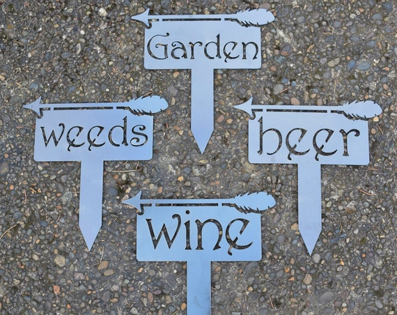 Staked Yard Markers | Staked Garden Markers | Plant Stakes | Herb Markers | Metal Garden Stakes | Vegetable Markers | Gardening