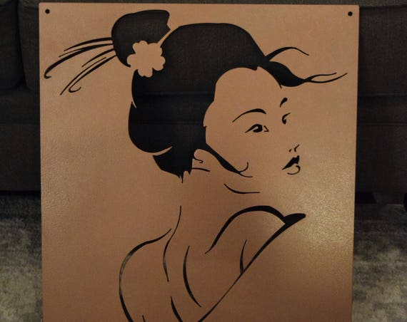 Geisha Metal Wall Decor  | Metal Art | Asian Wall Art | Wall Art | Oriental Sign