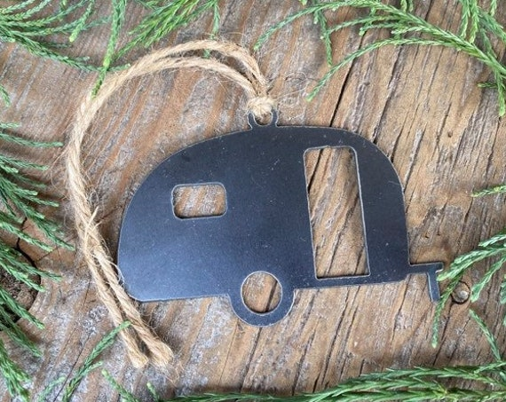 Vintage Camper Ornament Metal Oregon | Trailer Ornament | Teardrop | Raw Steel Bus | Rearview Mirror | Christmas Ornament