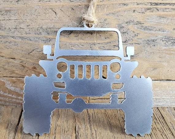 Jeep JK Metal Steel Christmas Ornament  | Christmas Ornament | Christmas Decor | Rearview Mirror | Off Road Explore Trails Adventure 4x4