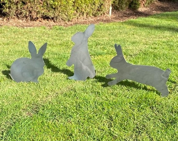Rabbit Garden Stakes | Bunny Yard Stakes | Staked Yard Art | Metal Staked Rabbits | Custom Yard Art | Easter Yard Art | Easter Bunny