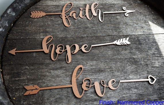 Inspirational Metal Arrows | Believe | Dream | Hope | Love | Faith | Achieve| Metal Wall Art | Metal Home Decor | Arrow Decor | Farmhouse