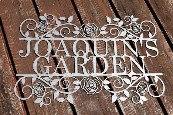 Custom Metal Garden Sign with Roses | Custom Metal Name Sign | Metal Custom Garden Art Metal Garden Sign Yard Art Garden Decoration