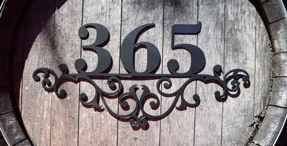 Flourished Metal Outdoor Home Address Sign