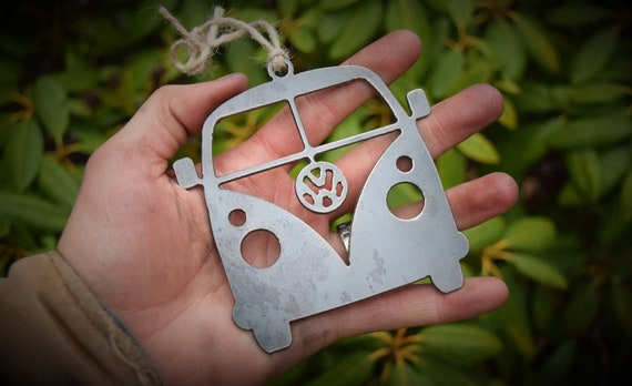 VW Bus Ornament Metal | Volkswagen Ornament | Vintage Car | Raw Steel Bus | Rearview Mirror | Christmas Ornament