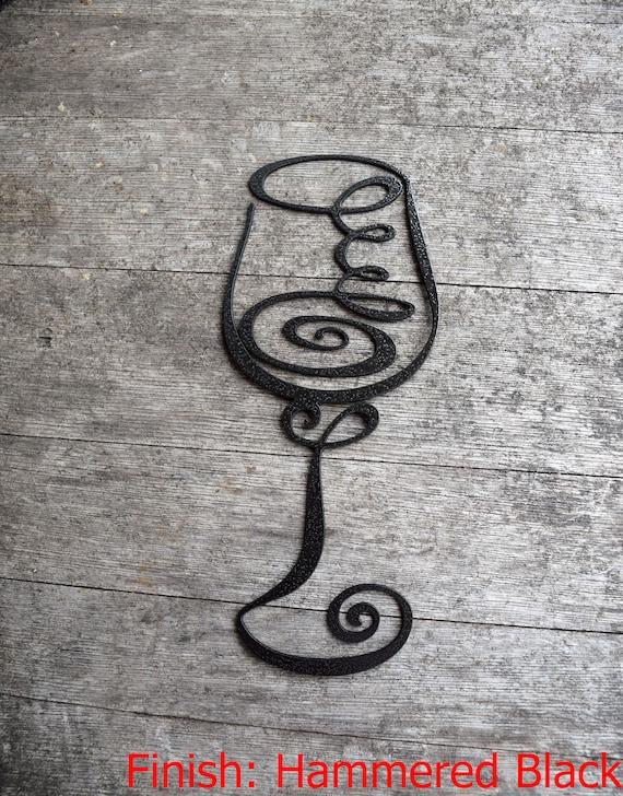 Fancy Metal Wine Glass | Abstract Metal Wine Glass | Swirly Wine Glass | Vino | Metal Wall Décor & Art