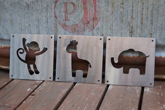 Nursery Animals Metal Signs, Child Animals, Nursery, Nursery Room, Baby Room, Nursery Decor, Nursery Wall Art, Nursery Art, Metal Wall Art
