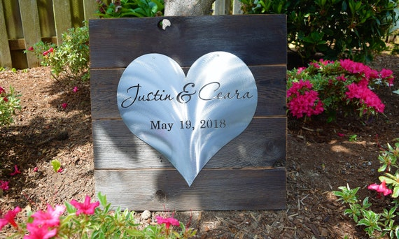 Wooden & Metal Love Heart -Marriage, Young Love, Anniversary , Wedding, Custom Metal Art, Pink, Love Metal Art,  Personalized Metal Sign