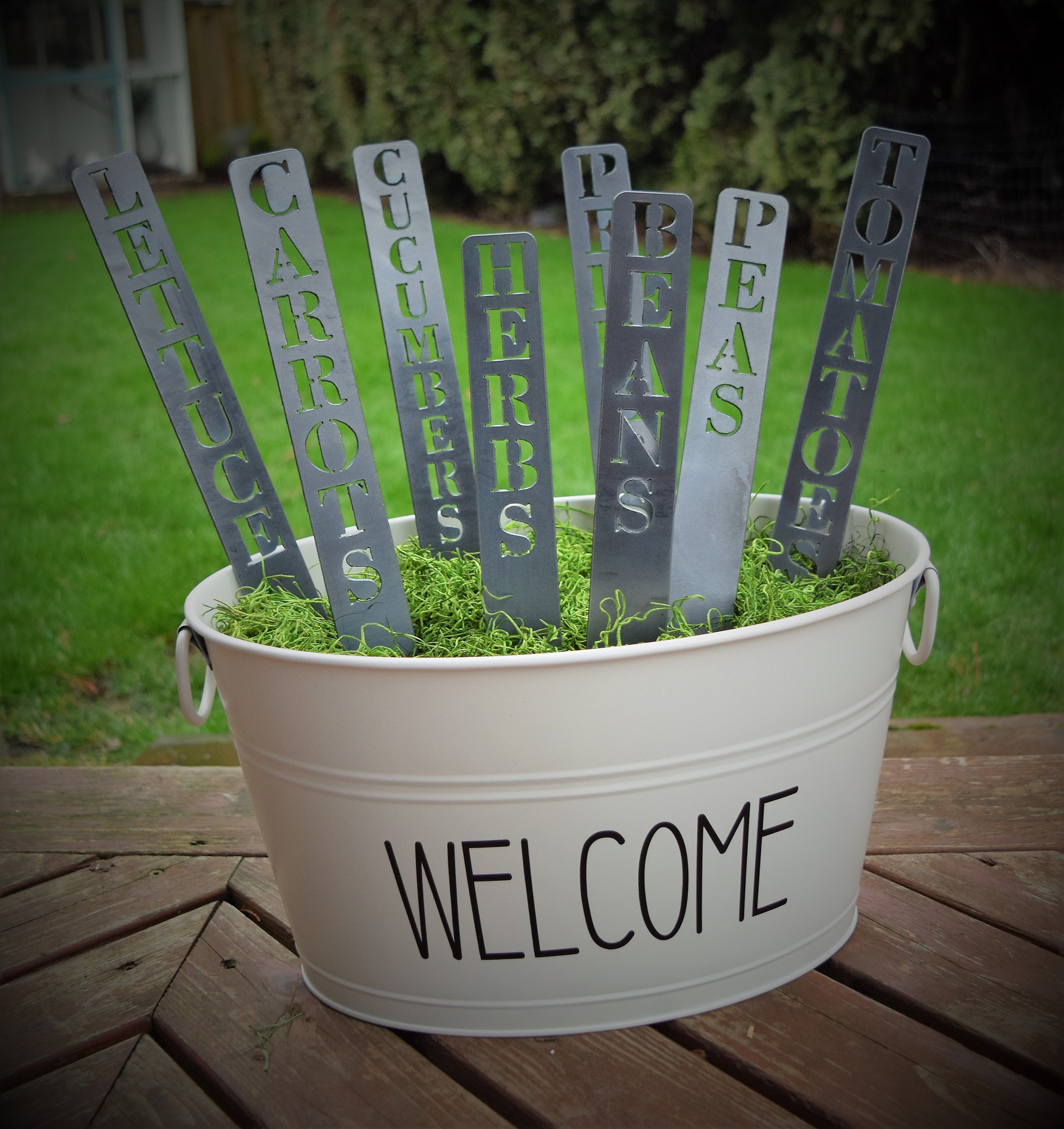Set Of Metal Garden Markers Plant Stakes Vegetable Markers