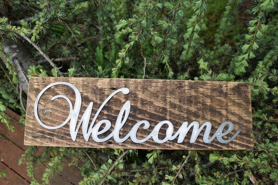 Welcome Sign on Rustic Wood | Housewarming Sign | Reclaimed Wood  |Metal Welcome Sign on Wood Backer | Farmhouse Sign